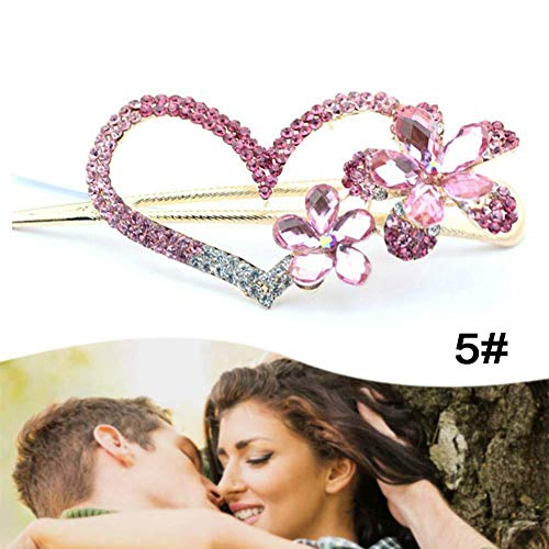 Pink Women Retro Crystal Heart Flower Hairpin Hair Stick Hair Clip Jewelry 5# MA