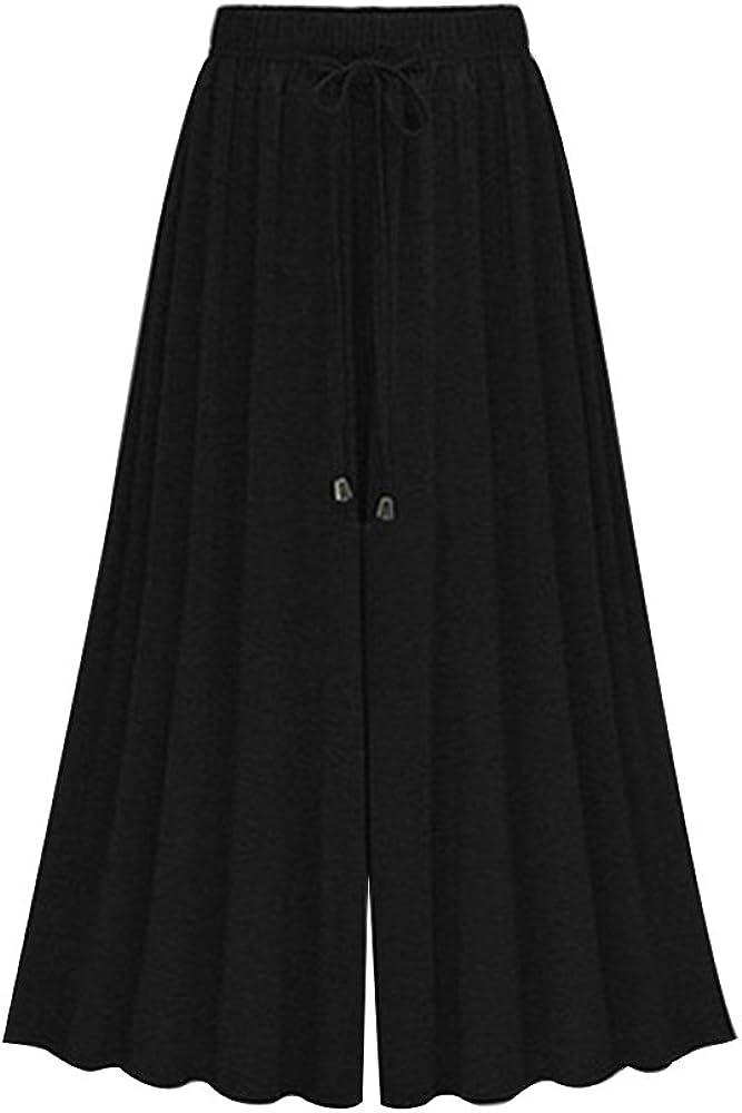 Sobrisah Damen-Capris-Hose aus Baumwolle elastischer Taille mit Kordelzug lockerer Passform lockerer Schnitt mit Taschen