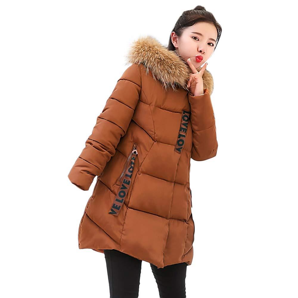 Women Winter Windproof Warm Long Thicker Fur Collar Cotton Slim Parka Hooded Outwear
