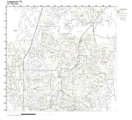 Longwood Florida Map.Amazon Com Zip Code Wall Map Of Longwood Fl Zip Code Map Not