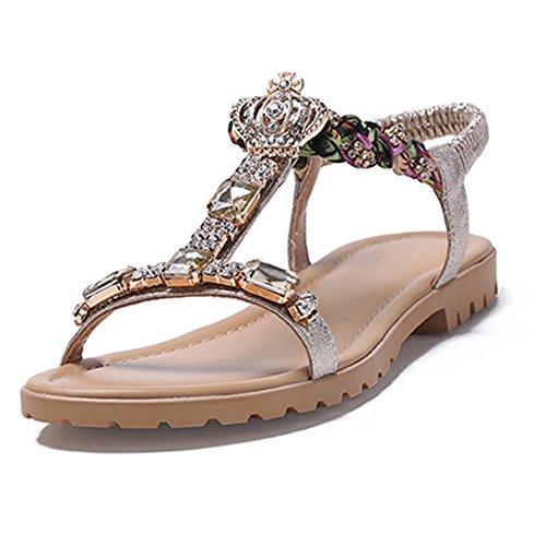7eb3398a2 El Verano Student Zapatos Versión Gold Rhinestone Chanclas Clip toe White  Light Peep Mujer Tamaño Agujeros Flate Para Coreana ...