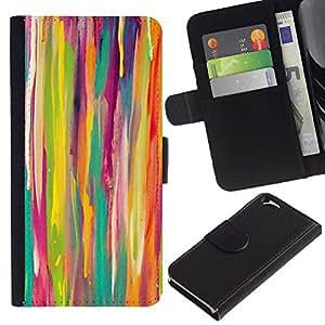EJOY---La carpeta del tirón la caja de cuero de alta calidad de la PU Caso protector / Apple Iphone 6 / --Líneas Acuarela Kids Arte Pintura