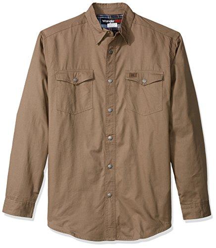 Wrangler Men's Big Flannel Lined Ripstop Shirt, Bark, 2X/...