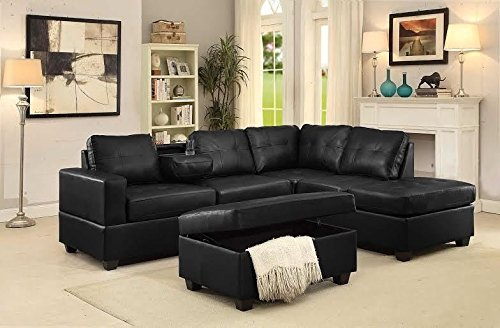 GTU Furniture Pu Leather Living Room Sectional Sofa Set in Black/White (WITHOUT OTTOMAN, BLACK)