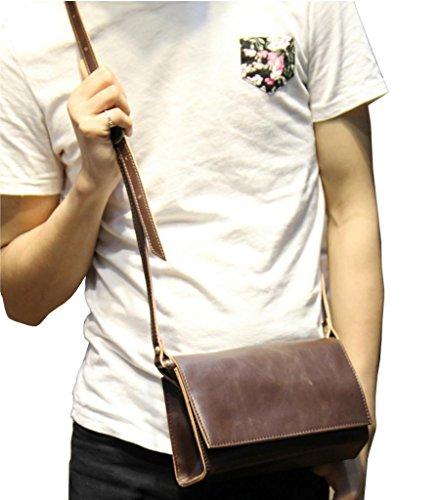 Tom Clovers Men's PU Leisure Vintage Mini Messenger Bag Shoulder Bag Coffee