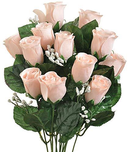 14 Long Stem Nude Roses Buds Lovely Silk Wedding Flowers Bride Bouquets Light Peach
