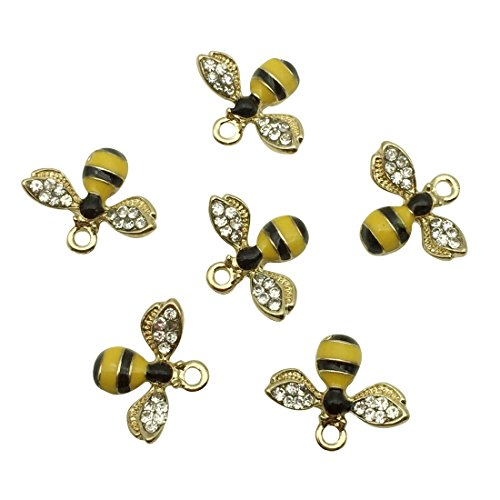 SANQIU Enamel Bee Charm Pack of 10 for Jewelry Making -