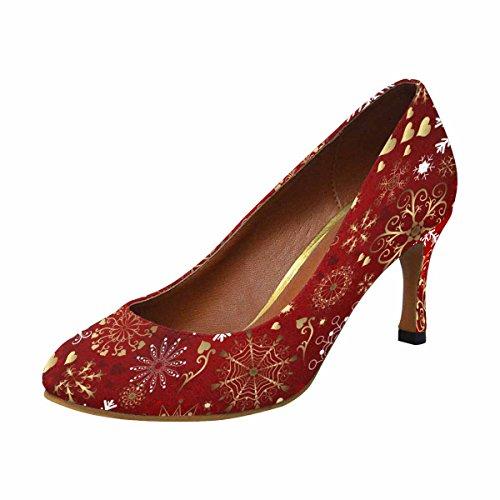 Interestprint Mujeres Classic Fashion High Heel Dress Bomba De Navidad Patrón Rojo Con Oro Y Blanco Copos De Nieve