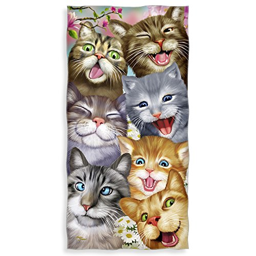 Cats Selfie Cotton Beach Towel