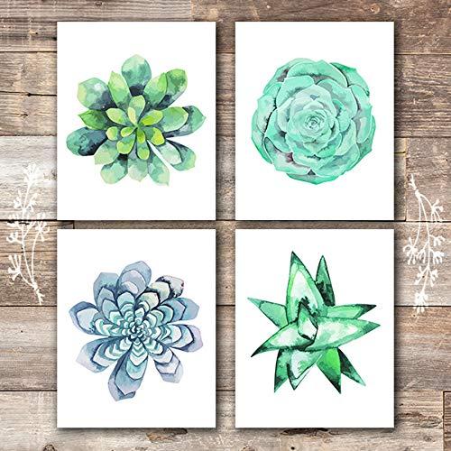 Succulent Wall Art Prints - (Set of 4) - Unframed - 8x10s | Botanical Prints