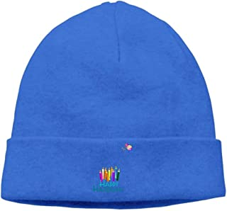 ASKYE Men's Colorful Hanukah Candles Soft Travel RoyalBlue Beanies cap Hat