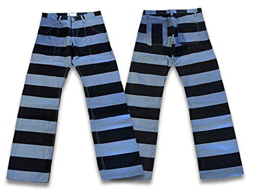 全3色【ROAD RUNNER/ロードランナー】 Prisoner Pants/プリズナーパンツ(囚人ボーダーワークパンツ) B01LVXO2HM XS(W28)|グレー/ブラック グレー/ブラック XS(W28)