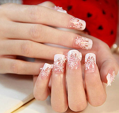 WHITE MAUVE FASHION PARTY JAPANESE AIRBRUSH 2D NAIL ART 24 nails Sold By FATTYCAT