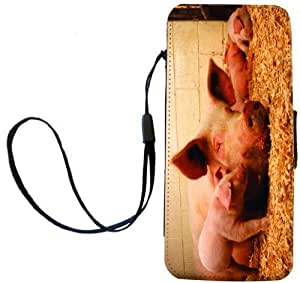 Rikki Knight Pigs in Sty Flip Wallet Case with Magnetic Flap for Apple iPhone 5 and 5s - Pigs in Sty