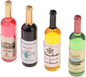 Fityle Handcrafted 4 Pieces Dollhouse Miniature Wine Bottles Champagne Drink Bottles 1/12 Scale Mini Bar Pub Life Scenes Accessory