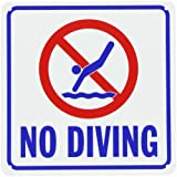 SmartSign Plastic Sign, Legend''No Diving'' with Graphic, 10'' square, Blue/Red on White