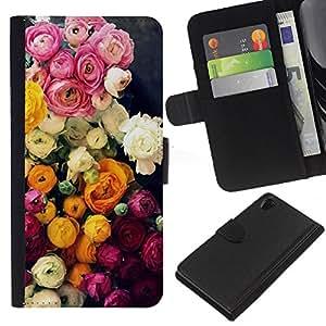 KingStore / Leather Etui en cuir / Sony Xperia Z2 D6502 / Ramo Rosa Blanco