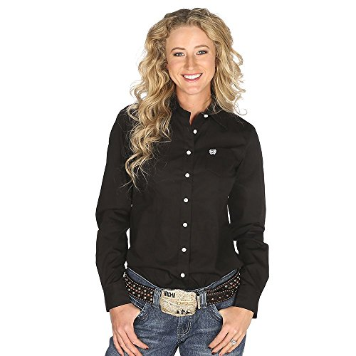 Cinch Women's Western Weave Pocket Shirt Black Medium