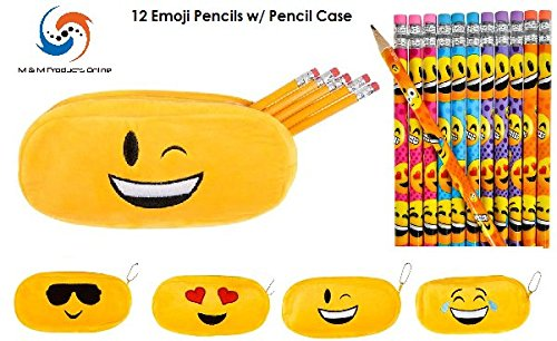 Emoji Face Pencil Case (Assorted) & 12 Emoji Face Pencils! Student Gift Set by M & M Products Online