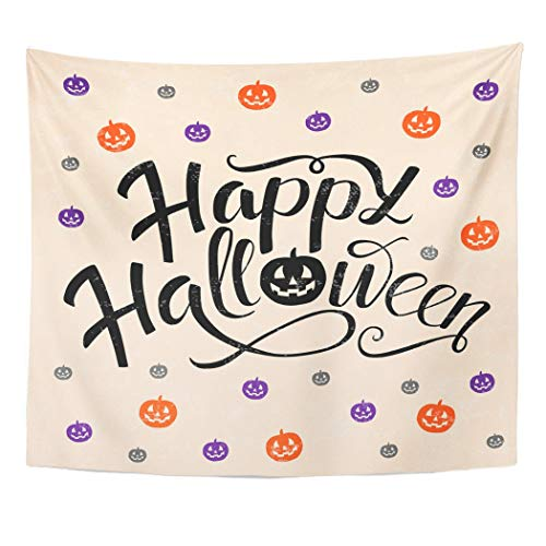 Emvency Wall Tapestry Happy Halloween Lettering with Pumpkins in Orange Violet and Gray Colors Trick Treat Design for Party and Magazines Decor Wall Hanging Picnic Bedsheet Blanket 60x50 Inches ()
