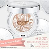 Age 20's Compact Foundation Makeup, Essence Cover Pact SPF50+ Sunscreen (Wrinkle-Smoothing & Brightening) with 68% Hyaluronic Serum (Made in Korea) - Color No. 21 - White / Nude Beige Latte
