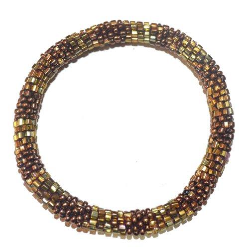 Textured Metallic Bronze and Golden Handmade Beaded Bracelet, Glass, Seed Beads ,