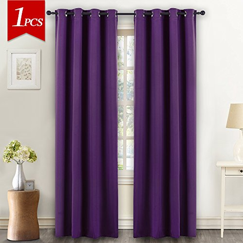NICETOWN Blackout Drape Window Curtain Short - (Deep Purple Color) Home Fashion Thermal Insulated Room Darkening Drapery for Bedroom by, 52W x 84L, Sold (Decorate Your Living Room Halloween)