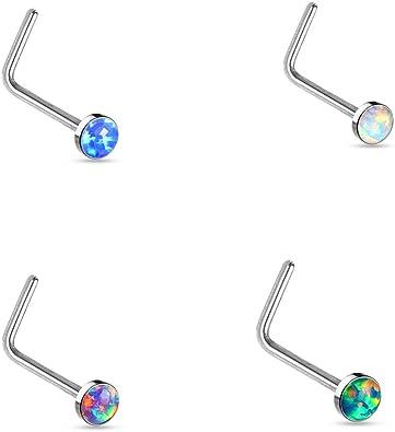 Piercing nez tige courbée opale