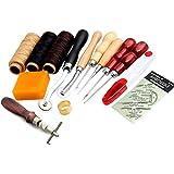 14piezas Juego de cuero hilo costura, agujas herramientas para coser de manualidades DIY