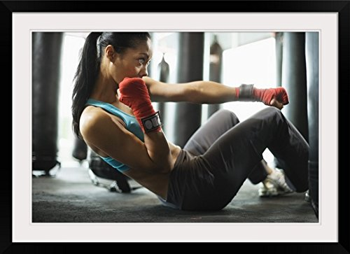 GreatBIGCanvas ''Woman doing crunches in gym'' Photographic Print with Black Frame, 36'' x 24''