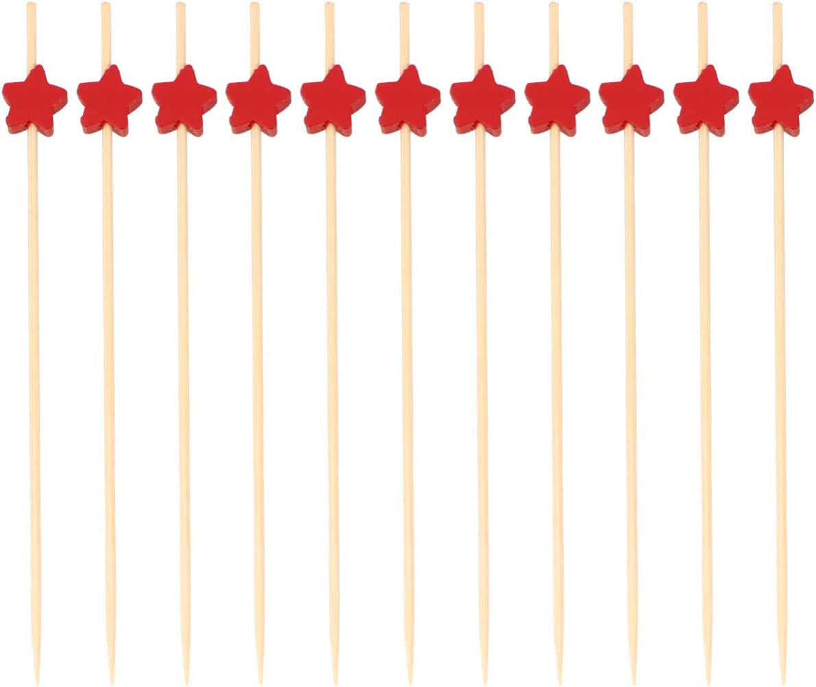 Cabilock 100pcs Bamboo Skewers Cocktail Toothpicks Fruit Kabobs Appetizers Food Picks Star Design Disposable Drink Sticks for Birthday Party Decorations Red