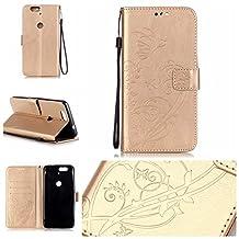 Nexus 6P Case, RIVRE [Wrist Strap] [Stand Feature] PU Leather [Butterfly Flower] Flip Wallet Case Cover for Huawei Google Nexus 6P 5.7 Inch 2015 [Golden]