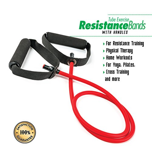 PXT360 Weights Resistance Workout and Exercise Tube Band with Handles - Dumbells Set Substitute - Soft Foam Handles For Comfortable Grip - Red, 15-20lbs - Strength And Flexibility