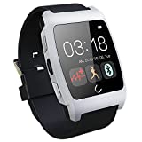 Aberobay Latest Smart Bluetooth 4.0 UX Wristwatch Heart Rate Monitor Can be Used for Sports Pedometer, Sleep Monitoring, Answering Phones, Remote Camera, Intelligent Anti-lost and Other Functions Ranging, is Currently The Most Powerful Smart Watch -Silver
