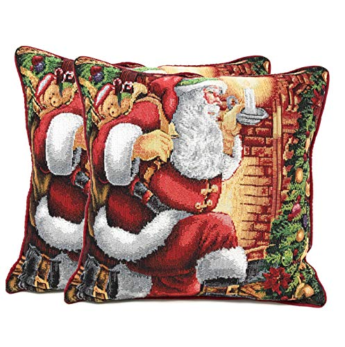 Tache Christmas Festive Winter Holiday Santa Down the Chimney Decorative Woven Tapestry Cushion Throw Pillow Cover, 2 Piece 16 x 16