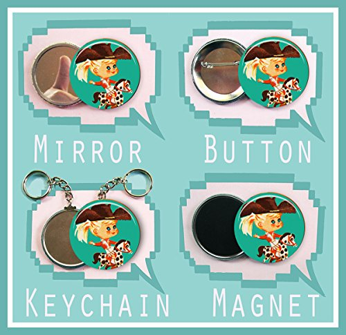 """Little Kiddle blue eyed Cowgirl 2.25 inch button, magnet, pocket mirror or keychain 2 1/4"""" size"""