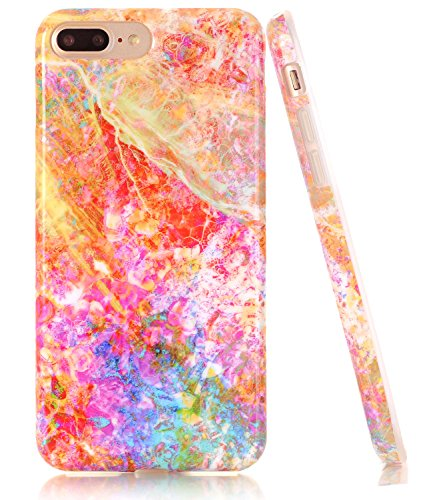 iPhone 7 Plus Case, Opal Marble Creative Design, BAISRKE Slim Flexible Soft Silicone Bumper Shockproof Gel TPU Rubber Glossy Skin Cover Case for iPhone 7 Plus & iPhone 8 Plus ()