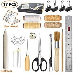 JOFAMY Bookbinding Kits, 17 pcs Bookbinding Supplies,A Necessity Book Binding Starter Kit Real Bone Folder,Paper Awl, Large-Eye Needles,Glue Brushes, Scissors, Steel Ruler Wax Thread
