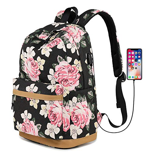 (Canvas Backpack Bookbags with USB Charging Port Fit for 14