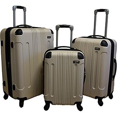 Kemyer 650 Lightweight 3-PC Expandable Hardside Spinner Luggage Spinner Set (Beige)