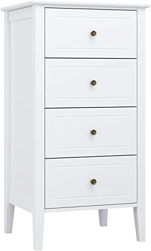 Homfa 4 Drawer Chest, Bathroom Floor Cabinet, Solid Wood Frame, Antique-Style Handles, Dressers for Bedroom, 37.4H x 20W x 16D inch Easy to Assemble -Soft White Finish