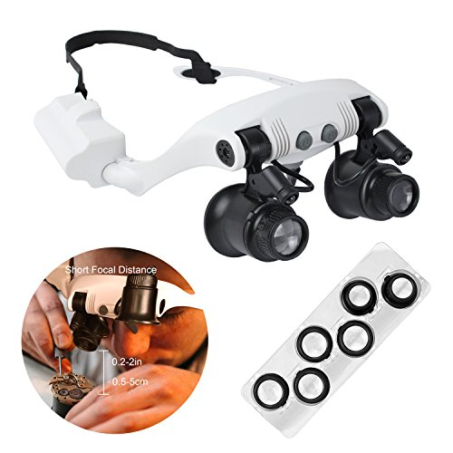 Qooltek LED Lighted Head Magnifier 0.2-2 inch Working Distance Jewelry Watch Repair Magnifying Loupe for One-Eye Observation with 10X 15X 20X 25X Lens Bar - From Glasses Lens Remove