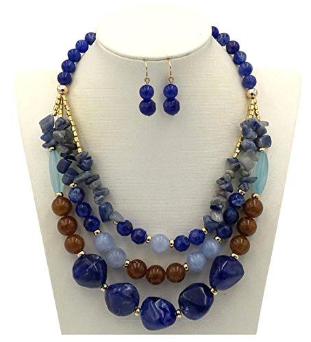 (Shineland Elegant 3-Row Layered Handmade Acrylic Glass Pearl Stone-Simulated Beaded Necklace Earrings Set (Style # 1(Blue)))