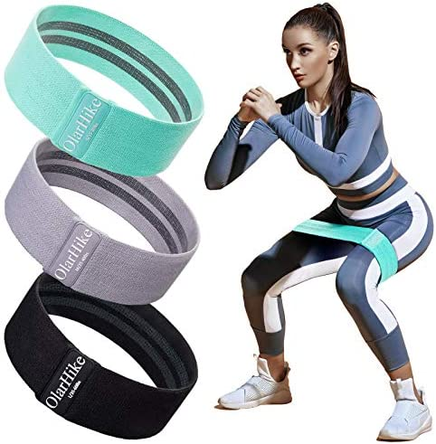 OlarHike Resistance Bands Set for Women Butt and Legs, Exercise Workout Elastic Bands for Booty, Fabric Glute Hip Thigh Cotton Bands for Yoga Working Out, Wide Circle Non-Slip Resistance Band