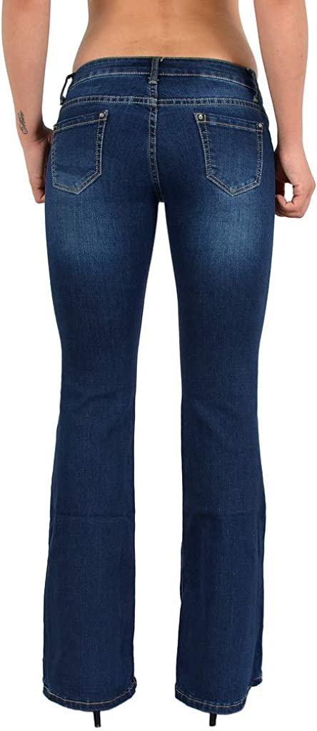 ESRA Jean Femme Bootcut Jean Taille Basse Pantalon Femmes Boot Cut BB