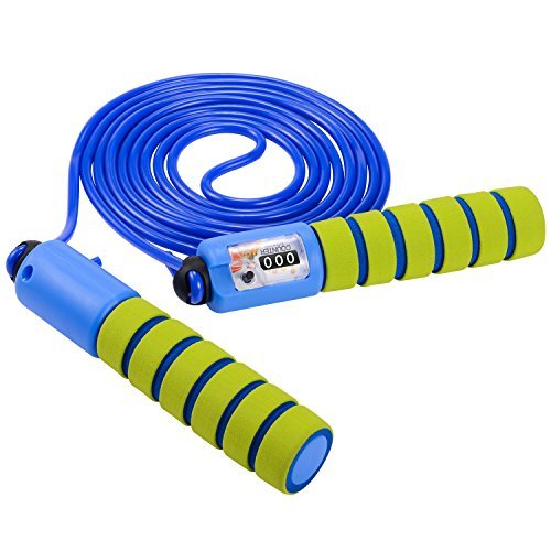 iHomeme Counter Jump Rope for Kids with Easy Adjustable and Foam Handle, Green