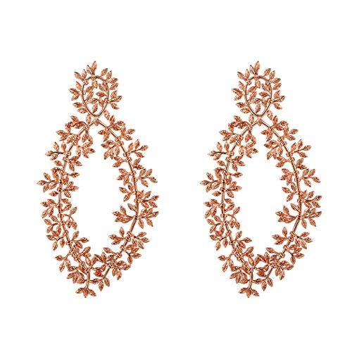 Tree Gold Branch (Leaf Branch Dangle Earrings Rose Gold Plated Statement Earrings Long Tree Branch Earrings)