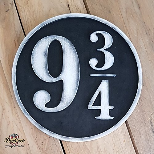 (Harry Potter 9 3/4 Wood Sign. Platform 9 3/4 just where you want. Made of Wood and Hand painted and aged for a movie look.)