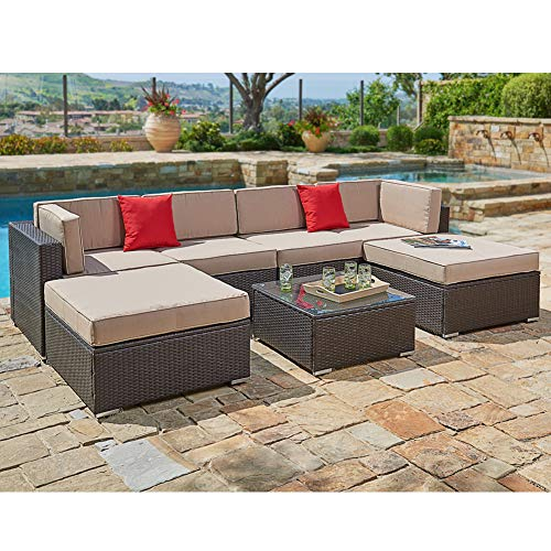 SUNCROWN Outdoor Furniture Sectional Sofa Set (7-Piece Set) All-Weather Brown Wicker with Brown Washable Seat Cushions & Modern Glass Coffee Table | Patio, Backyard, Pool | Incl. Waterproof Cover -