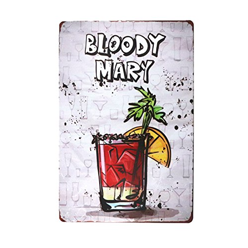 DL-Christmas Decoration Bloody MARY Metal Tin Sign Retro Cafe Restaurant Bar Pub wall - Mary Bloody Bar